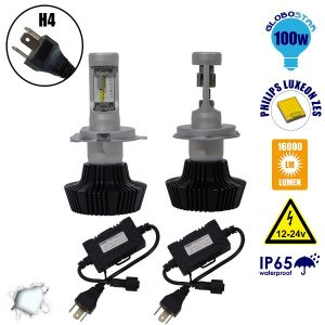 LED HID KIT H4 Extreme Version Philips Luxeon Zes Chip 100 Watt 16000 Lumens DC 12-24 Volt 6000k GloboStar 98702