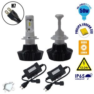 LED HID KIT H7 Extreme Version Philips Luxeon Zes Chip 50 Watt 8000 Lumens DC 12-24 Volt 6000k GloboStar 98703