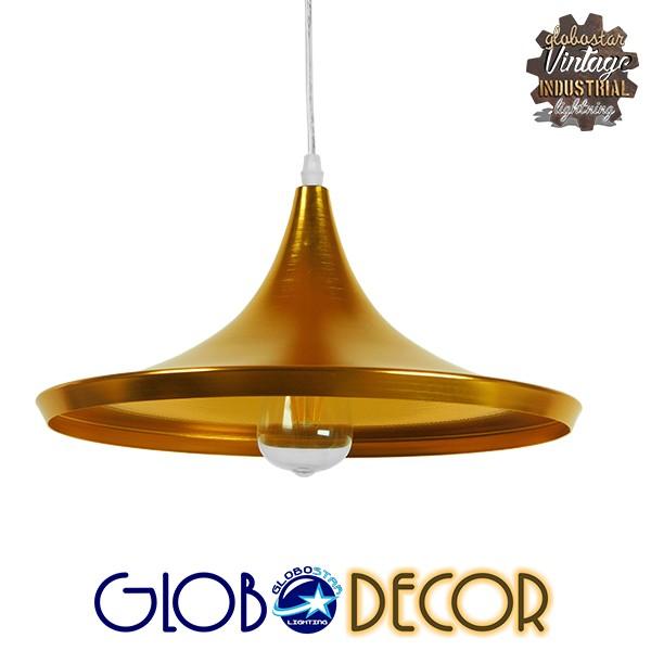 Μοντέρνο Κρεμαστό Φωτιστικό Οροφής Μονόφωτο Χρυσό Μεταλλικό Καμπάνα Φ37 GloboStar JIAXING 01545