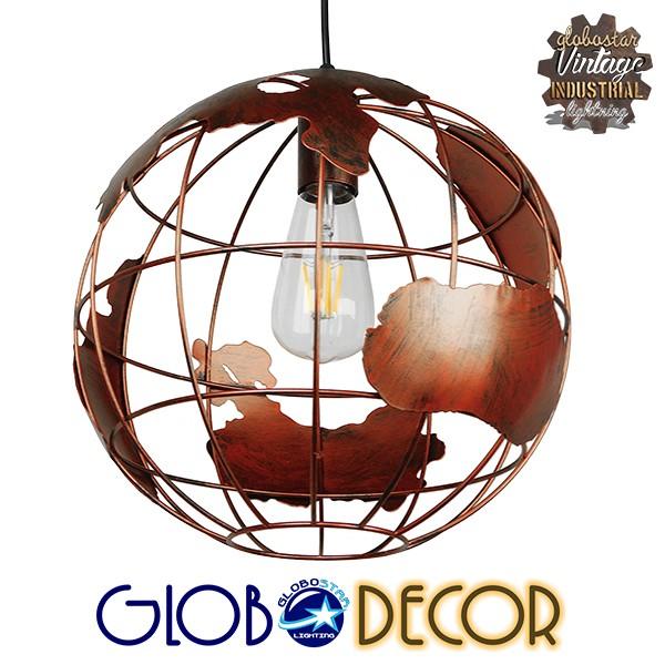 Vintage Industrial Κρεμαστό Φωτιστικό Οροφής Μονόφωτο Καφέ Σκουριά Μεταλλικό Πλέγμα Φ30 GloboStar EARTH RUST 30CM 01662