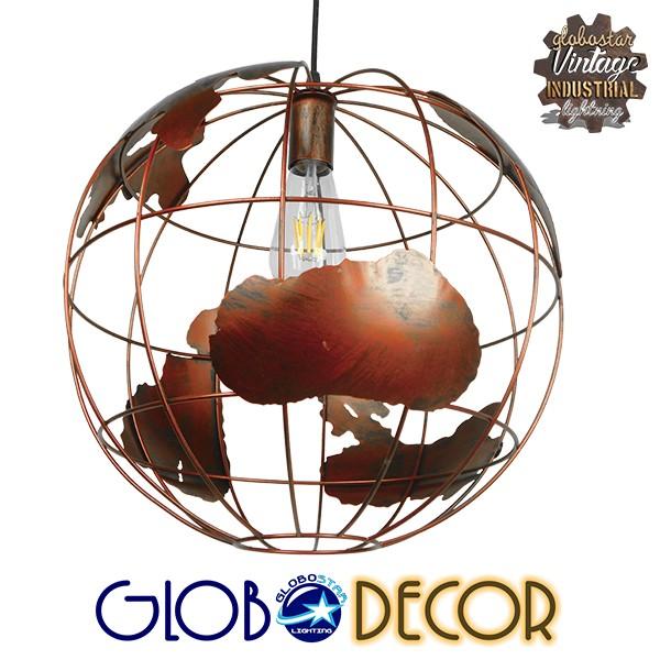 Vintage Industrial Κρεμαστό Φωτιστικό Οροφής Μονόφωτο Καφέ Σκουριά Μεταλλικό Πλέγμα Φ40 GloboStar EARTH RUST 40CM 01665