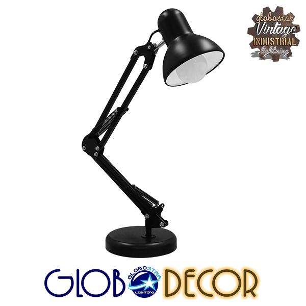 Μοντέρνο Επιτραπέζιο Φωτιστικό Γραφείου Μονόφωτο Μεταλλικό Μαύρο Λευκό GloboStar DESK BLACK 01538