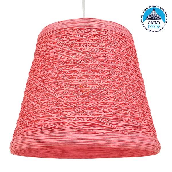 Vintage Κρεμαστό Φωτιστικό Οροφής Μονόφωτο Ροζ Ξύλινο Ψάθινο Rattan Φ32 GloboStar ARGENT PINK 00996