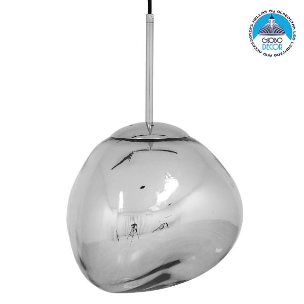 Μοντέρνο Κρεμαστό Φωτιστικό Οροφής Μονόφωτο Γυάλινο Ασημί Νίκελ Φ28 GloboStar DIXXON CHROME 01460