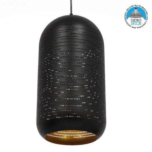 Μοντέρνο Κρεμαστό Φωτιστικό Οροφής Μονόφωτο Μαύρο με Χρυσό Μεταλλικό Καμπάνα Φ20 GloboStar SAGA 01591