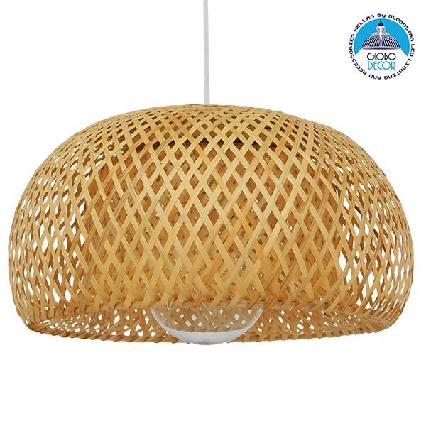 Vintage Κρεμαστό Φωτιστικό Οροφής Μονόφωτο Καφέ Ξύλινο Bamboo Φ38 GloboStar SAN TROPEZ 01626