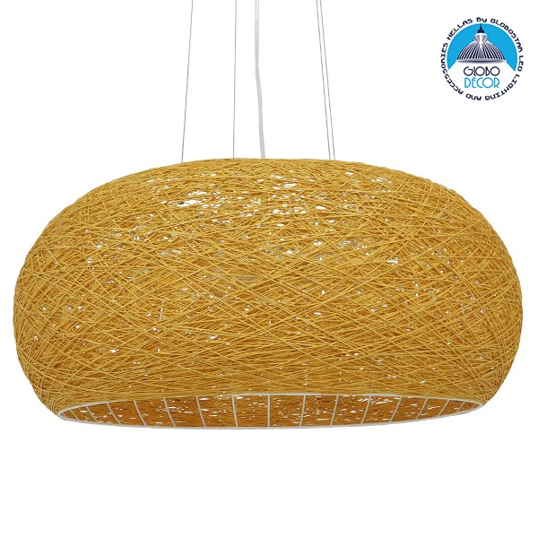 Vintage Κρεμαστό Φωτιστικό Οροφής Μονόφωτο Καφέ Ξύλινο Bamboo Φ60 GloboStar FIJI 01628