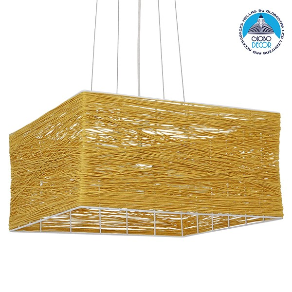 Vintage Κρεμαστό Φωτιστικό Οροφής Μονόφωτο Καφέ Ξύλινο Bamboo GloboStar LONG BAY 01629