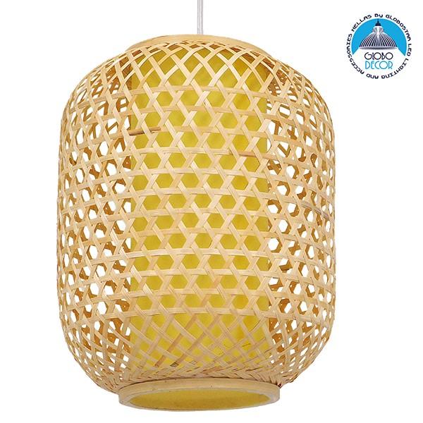 Vintage Κρεμαστό Φωτιστικό Οροφής Μονόφωτο Καφέ Ξύλινο Bamboo Φ30 GloboStar MAURITIUS Φ30 00899