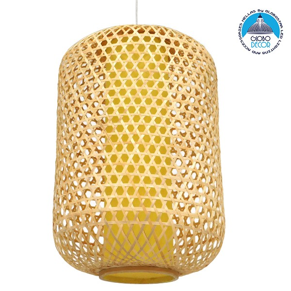 Vintage Κρεμαστό Φωτιστικό Οροφής Μονόφωτο Καφέ Ξύλινο Bamboo Φ40 GloboStar MAURITIUS Φ40 00901