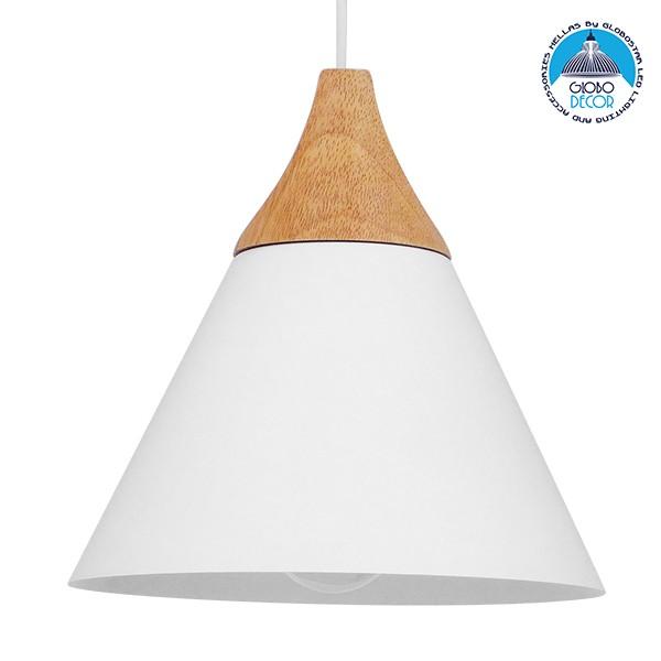 Μοντέρνο Κρεμαστό Φωτιστικό Οροφής Μονόφωτο Λευκό Μεταλλικό με Ξύλο Καμπάνα Φ23 GloboStar SHADE WHITE 00907