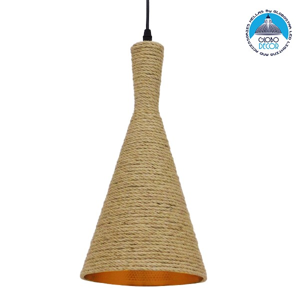 Vintage Κρεμαστό Φωτιστικό Οροφής Μονόφωτο με Μπεζ Σχοινί Καμπάνα GloboStar BEIJING Φ20 00918