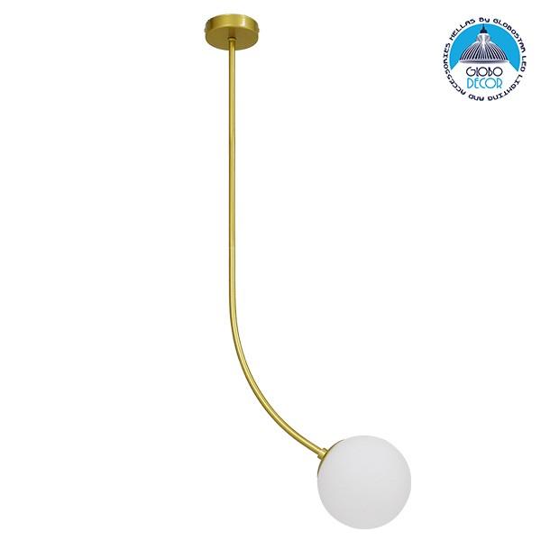Μοντέρνο Φωτιστικό Οροφής Μονόφωτο Χρυσό 100cm με Λευκό Ματ Γυαλί Φ15 GloboStar DRIZZLE 100cm 00921