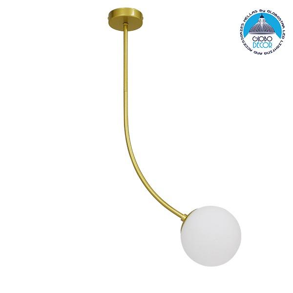 Μοντέρνο Φωτιστικό Οροφής Μονόφωτο Χρυσό 70cm με Λευκό Ματ Γυαλί Φ15 GloboStar DRIZZLE 70cm 00922