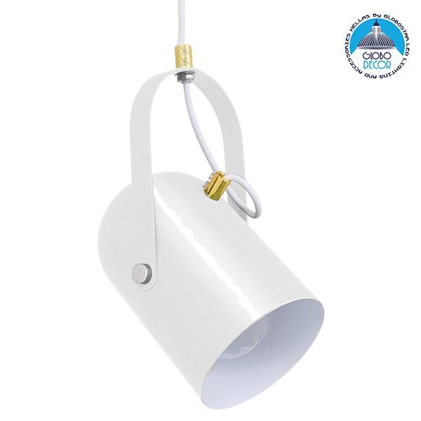 Μοντέρνο Κρεμαστό Φωτιστικό Οροφής Μονόφωτο Λευκό Glossy με Χρυσές Λεπτομέρειες Μεταλλικό Φ12cm GloboStar HAZEL WHITE GLOSSY 00924