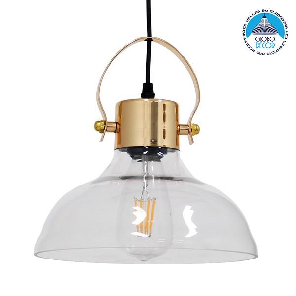 Vintage Κρεμαστό Φωτιστικό Οροφής Μονόφωτο Γυάλινο Καμπάνα με Χρυσό Ντουί Φ24 GloboStar JAVER 00933