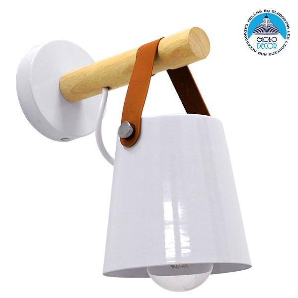 Μοντέρνο Φωτιστικό Τοίχου Απλίκα Μονόφωτο Λευκό με Ξύλο και Δερμάτινο Λουράκι Μεταλλικό Ø13xΜ13xΠ19xY14cm GloboStar AMY WHITE 00946