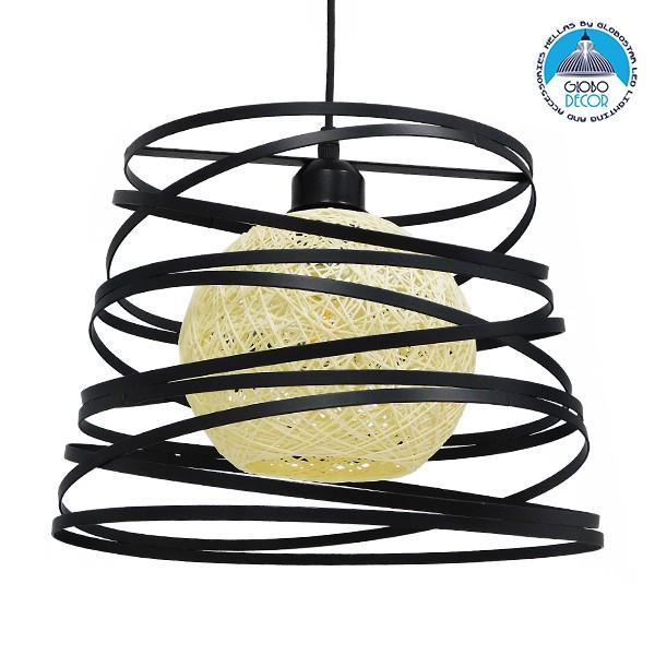 Μοντέρνο Industrial Κρεμαστό Φωτιστικό Οροφής Μονόφωτο Μαύρο με Εκρού Μεταλλικό Πλέγμα Φ32 GloboStar CARTER Φ32 00961