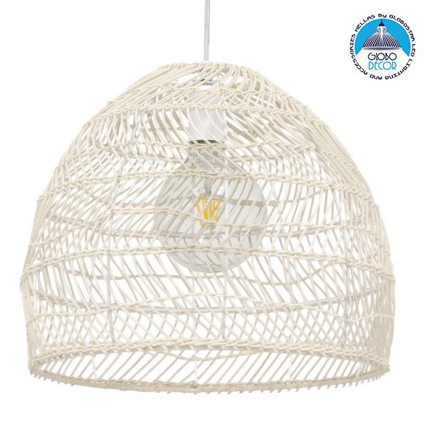 Vintage Κρεμαστό Φωτιστικό Οροφής Μονόφωτο Λευκό Μπέζ Ξύλινο Bamboo Φ40 GloboStar COMORES LIGHT BEIGE 00968