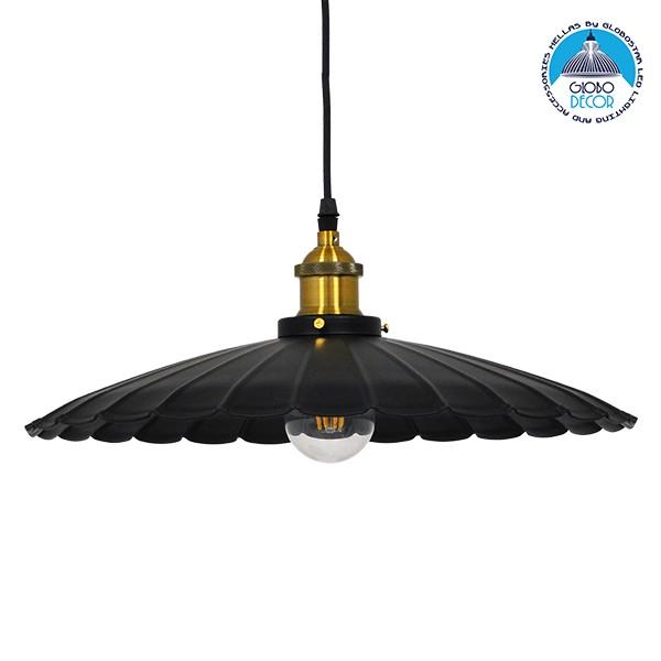 Vintage Industrial Κρεμαστό Φωτιστικό Οροφής Μονόφωτο Μαύρο Μεταλλικό Καμπάνα Ø40xY15cm GloboStar MARGI Ø40 00982