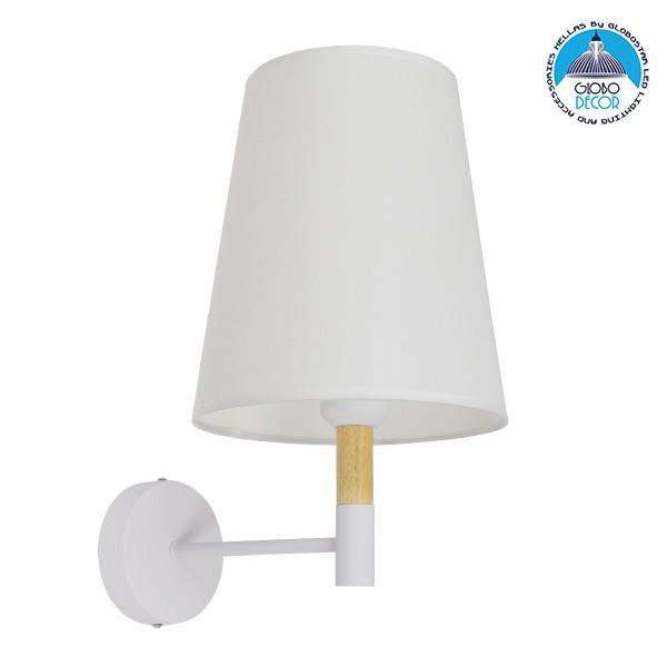 Μοντέρνο Φωτιστικό Τοίχου Απλίκα Μονόφωτο Λευκό με Μπέζ Ξύλο Μεταλλικό Φ20 GloboStar LYDFORD WHITE 01433