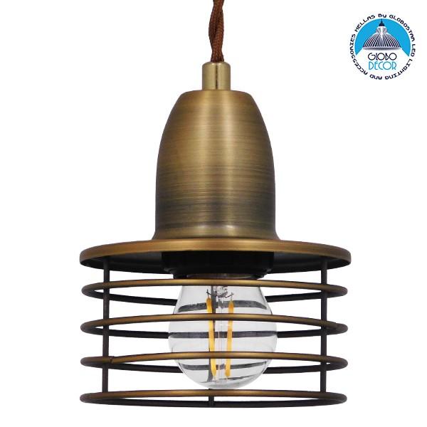 Μοντέρνο Industrial Κρεμαστό Φωτιστικό Οροφής Μονόφωτο Μεταλλικό Χρυσό Καμπάνα Φ11 GloboStar MANHATTAN GOLD 01454