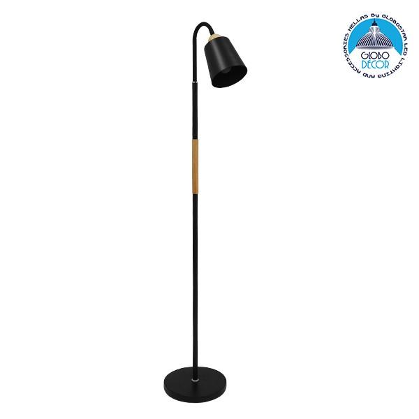 Μοντέρνο Φωτιστικό Δαπέδου Μονόφωτο Μεταλλικό Μαύρο με Ξύλινη Λεπτομέρεια Φ13 GloboStar RIBBON BLACK 01585
