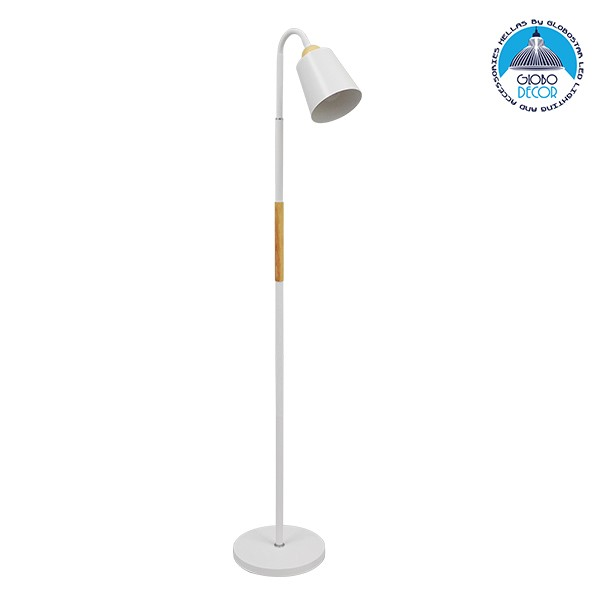 Μοντέρνο Φωτιστικό Δαπέδου Μονόφωτο Μεταλλικό Λευκό με Ξύλινη Λεπτομέρεια Φ13 GloboStar RIBBON WHITE 01586