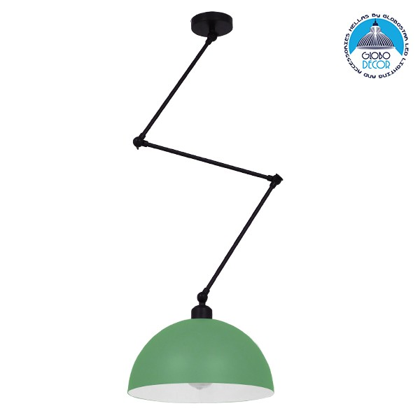 Μοντέρνο Φωτιστικό Οροφής Μονόφωτο Ανοιχτό Πράσινο Ματ Μεταλλικό Καμπάνα Ø30Y21cm GloboStar LOTUS GREEN 00936
