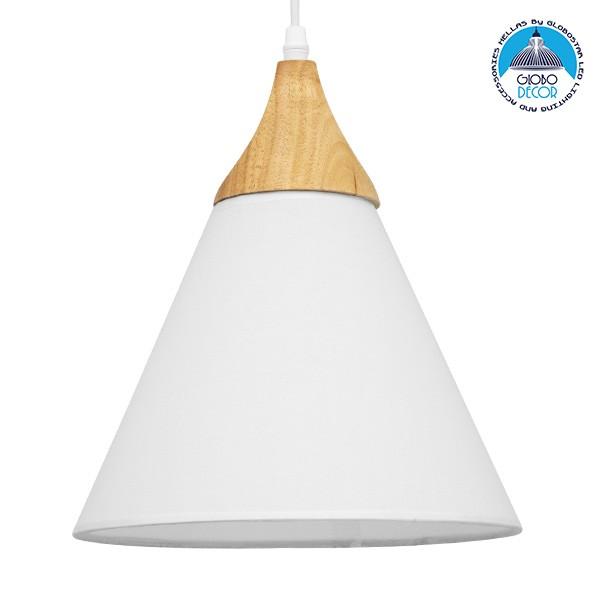 Μοντέρνο Κρεμαστό Φωτιστικό Οροφής Μονόφωτο Λευκό Υφασμάτινο με Ξύλο Καμπάνα Ø25x30cm GloboStar SHADE WHITE 01577