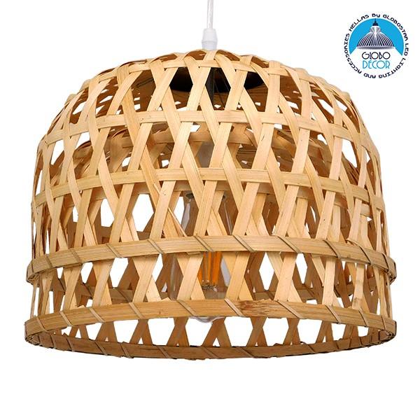 Vintage Κρεμαστό Φωτιστικό Οροφής Μονόφωτο Καφέ Ξύλινο Bamboo Ø32xY30cm GloboStar MANGEA Ø32xY30CM 01634