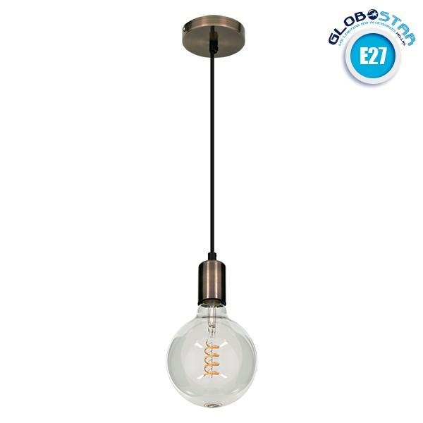 GloboStar® LED Lighting LUMI BRONZE 99424 Μοντέρνο Μεταλλικό Κρεμαστό Φωτιστικό Οροφής Ανάρτηση με Ντουί E27 Μονόφωτο Μπρονζέ Φ4 x Y118cm